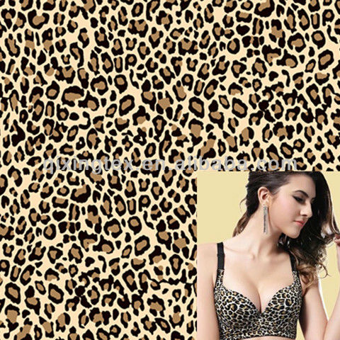 leopard printed nylon lycra knit stretch lingerie fabric