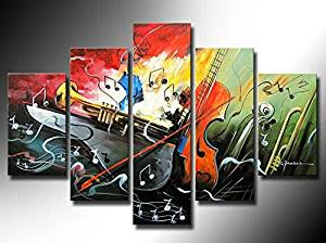 Ode-Rin Art Christmas Gift 100% Hand Painted on Canvas Abstract Creative Musical Instrument Paintings Wall Art Oil Painting 5-pieces Artwork for Living Room Home and Wall Decoration