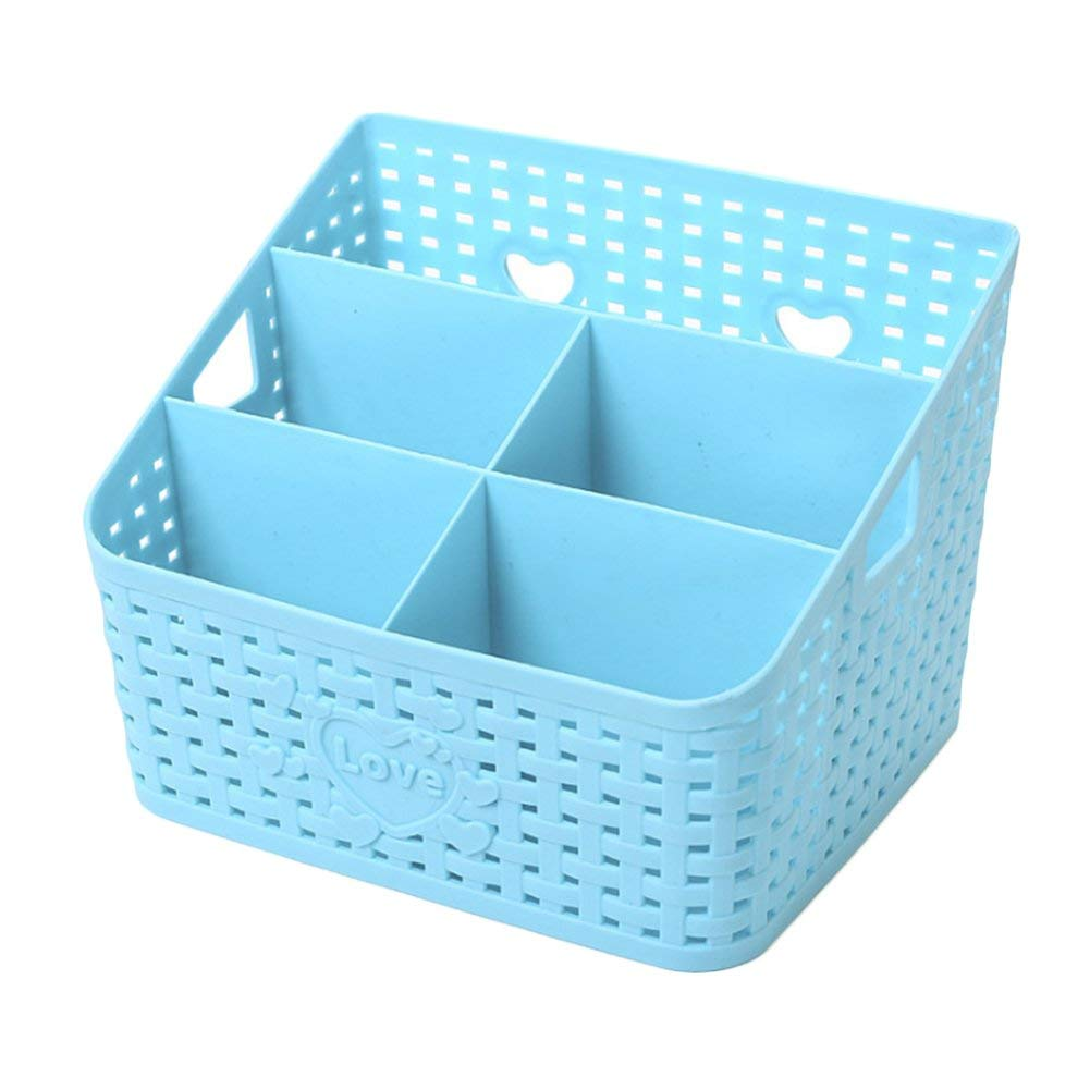 Large 5 Grid Storage Box Multifunctional Plastic Storage Box Plastic Rattan Plaited Desk Organizer Cosmetics Makeup Storage Holder for Office Desk Phone (Blue)