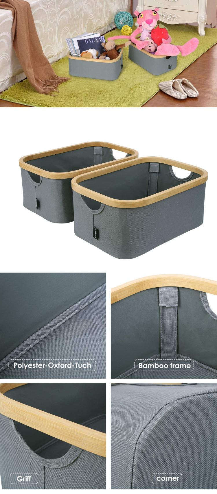 Rectangle Foldable Bamboo Cloth Storage Basket Large Collapsible Laundry Basket Organizer