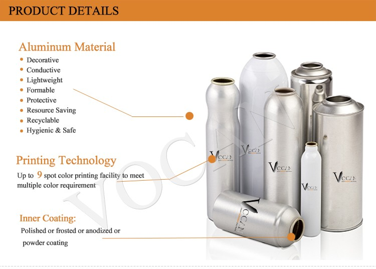 Metal Aerosol Can for oxygen, with valve nozzle mask