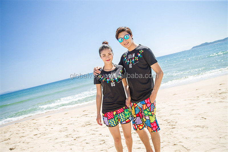 New couples beach pants honeymoon suit seaside holiday loose men and women shorts large size hot pants,swim trunks