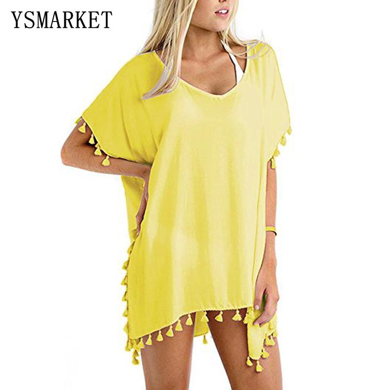 edd63af21a325a Vrouwen Shirts 2018 Sexy Cover Badmode Kwastje Gehaakte Tuniek Zomer Strand  Dragen Bikini Blouse Boho V