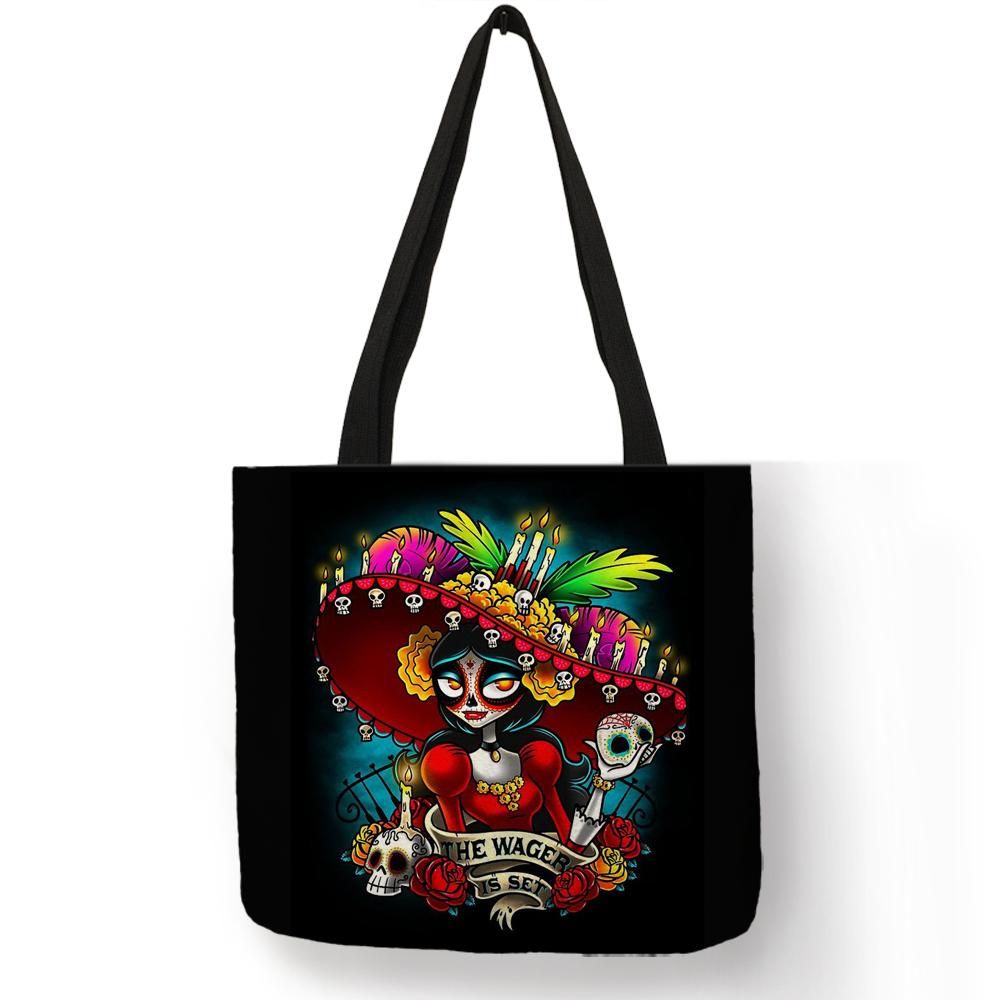 Персонализированные Женские сумки-тоут с черепом и принтом скелета, многоразовые сумки для покупок, сумки для девочек с черепом, школьные с...(Китай)