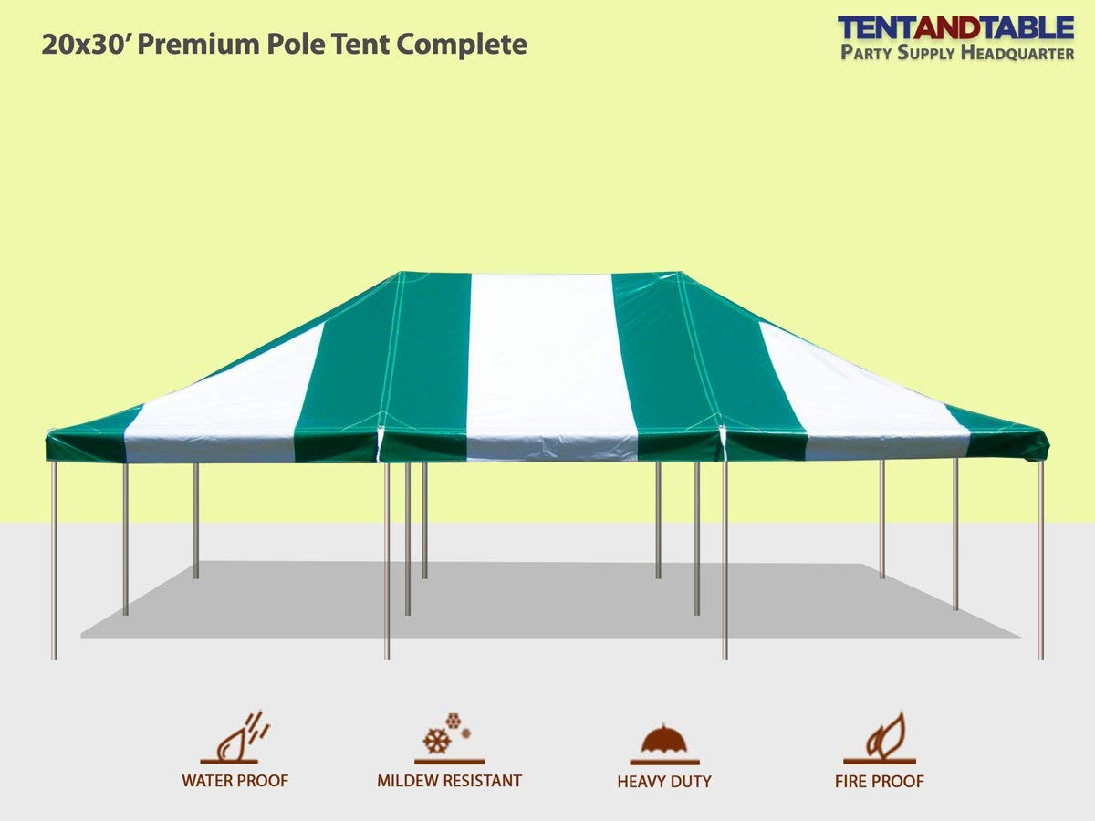 20-Foot by 30-Foot Green and White Pole Tent, Commercial Canopy Heavy Duty 16-Ounce Vinyl for Parties, Weddings, and Events