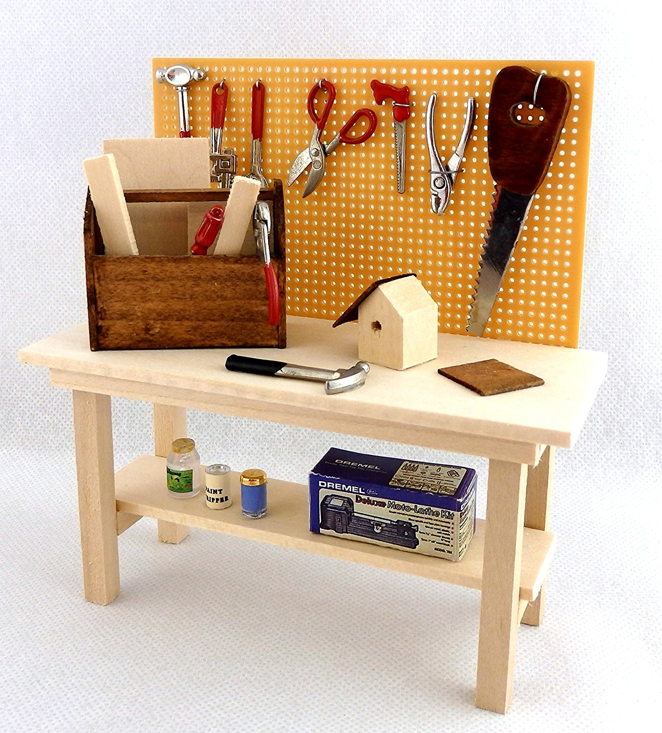 Get Quotations · Melody Jane Dolls Houses House Miniature Garden Shed  Garage Accessory Full Workbench Tool Bench