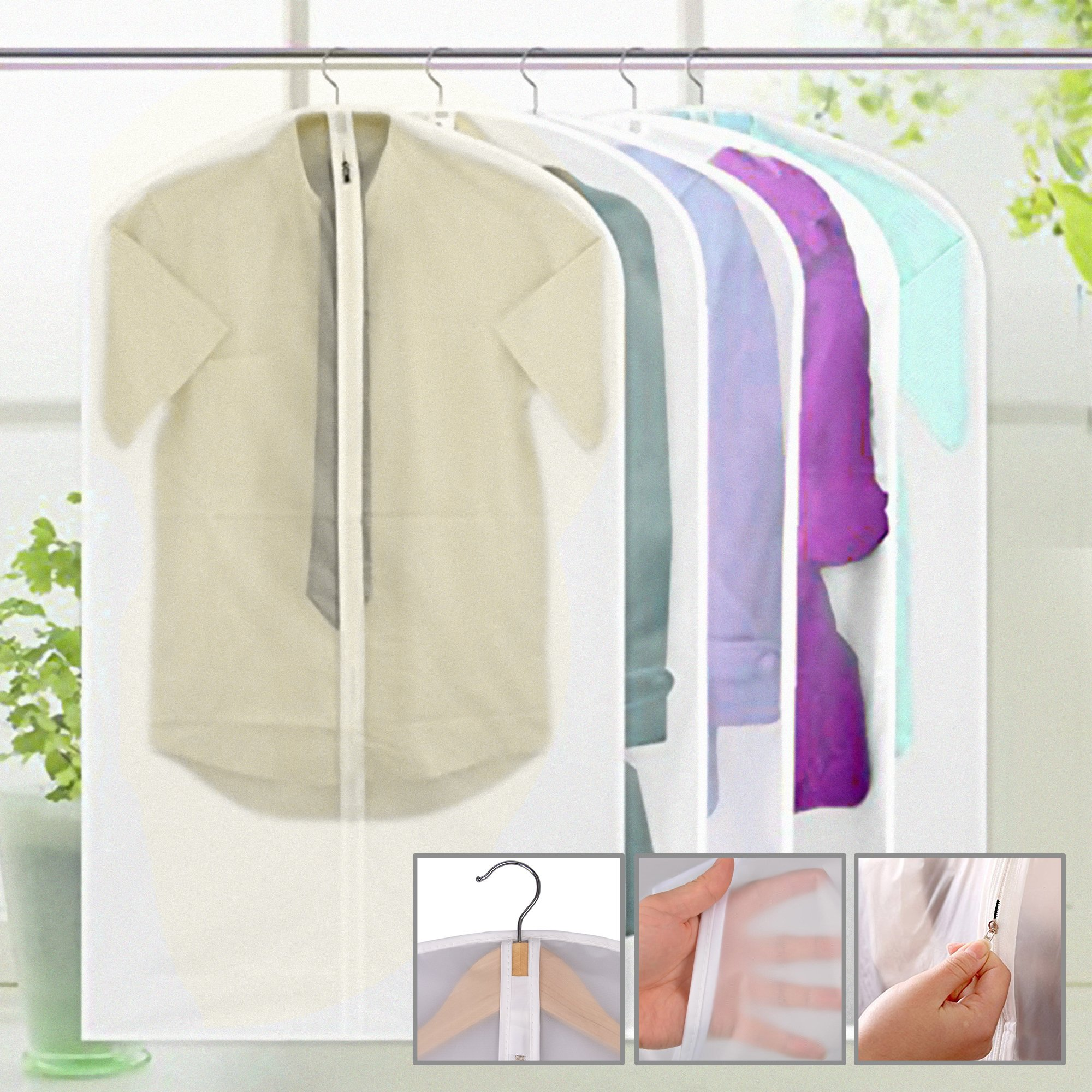 5-Pack Portable Dust Proof Garment Suit Bag Moth-Proof Clothes Travel Storage Wardrobe Cover Zip Up Bag