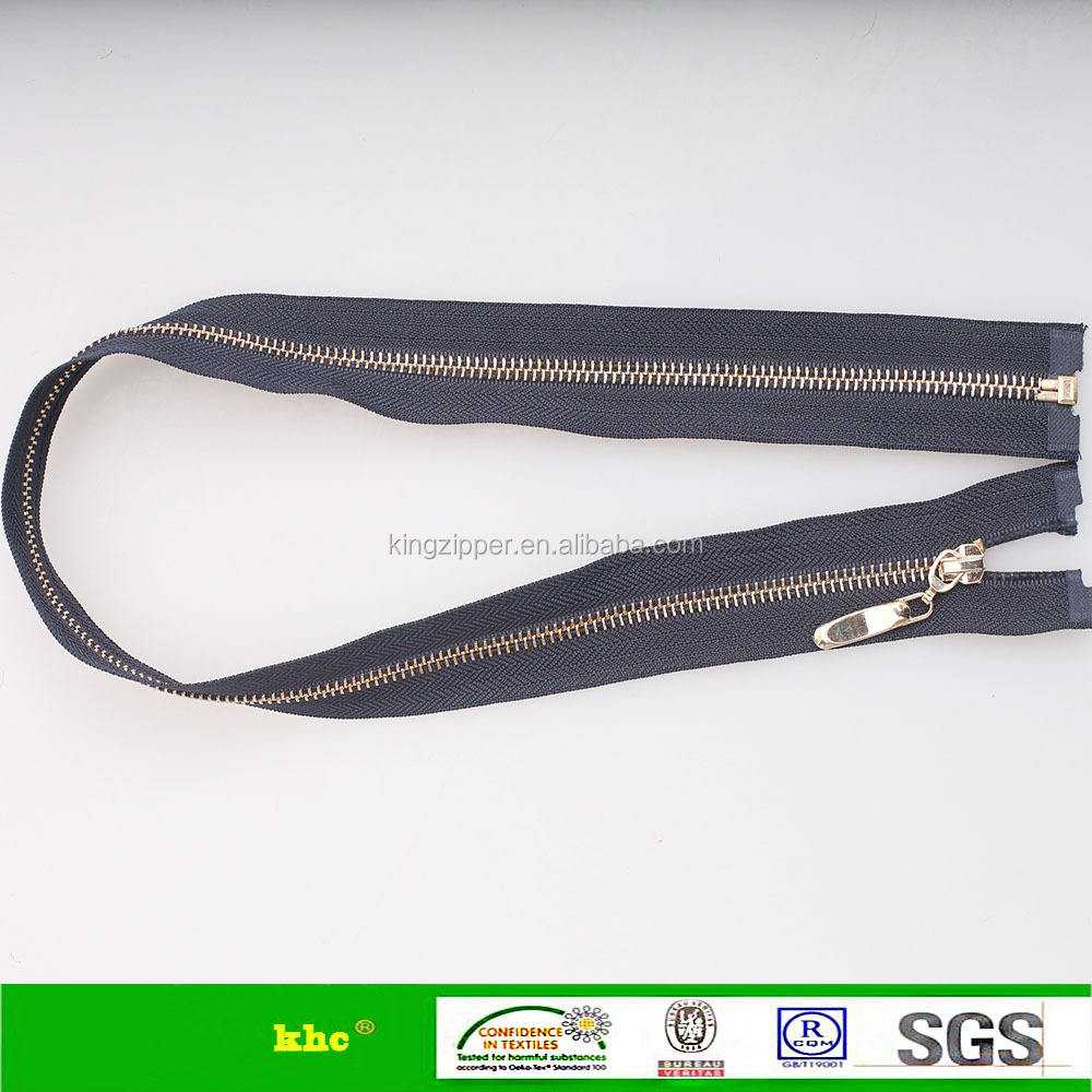 zipper manufacturer 5# metal bass plating light gold zipper open end zipper for jacket