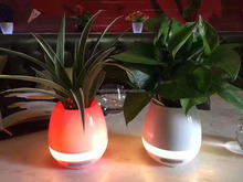 Evergreentech Touch LED Piano Music Playing Flowerpot Round Plant Pots Speakers Creative Bluetooth Wireless Speaker