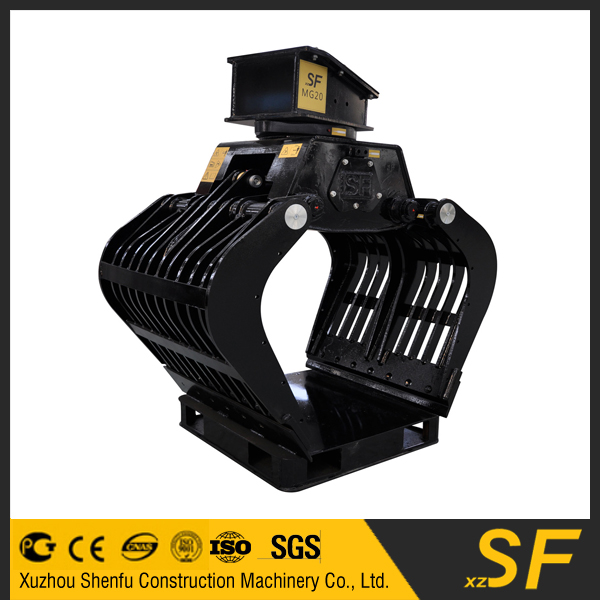excavator 5 teeth hydraulic rotating grapple fit for Catepillar excavaor