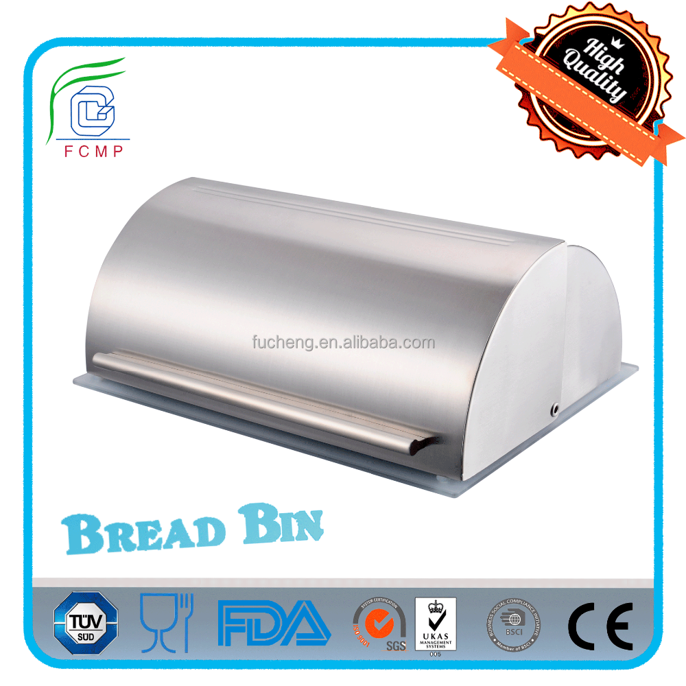food standard glass base metal hand stainless stee recycling kitchen corner bread bin box