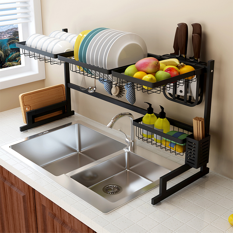 Original manufacturer supply extra long version 95Cm storage shelf display stainless steel kitchen over sink dish drying rack