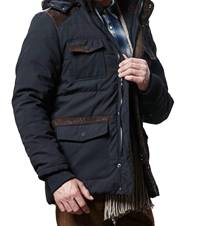 UUYUK-Men Winter Solid Quilted Padded Zipper Thicken Windproof Hoodies Coat