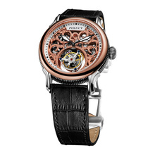 High Quality Stainless Steel Genuine Leather Men Tourbillon Mechanical Watch With Custom Logo