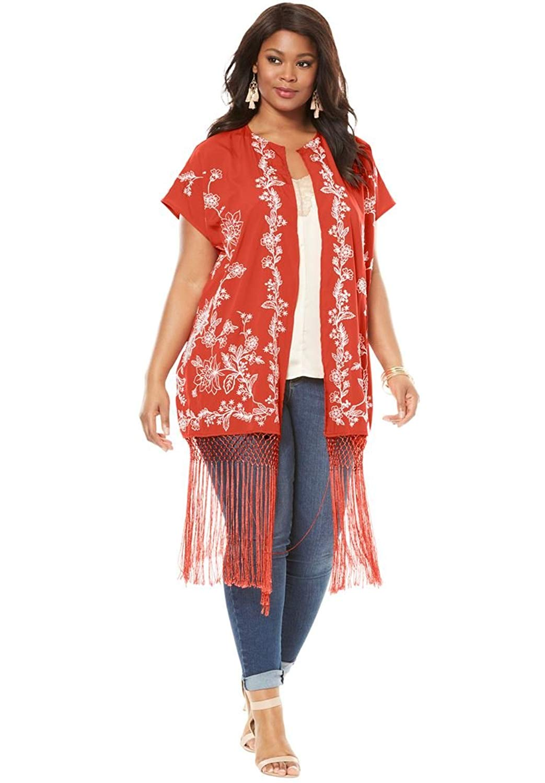 f98a0e374 Get Quotations · Roamans Women's Plus Size Embroidered Fringe Kimono Jacket