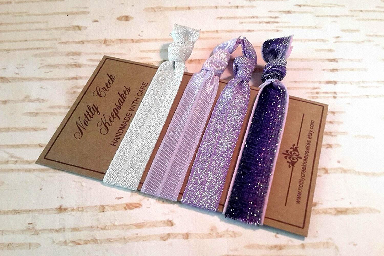 983b3ffe9de5 Get Quotations · Purple Hair Ties Glitter Hair Bands / Purple Ombre Glitter  Elastic Hair Band Set / No