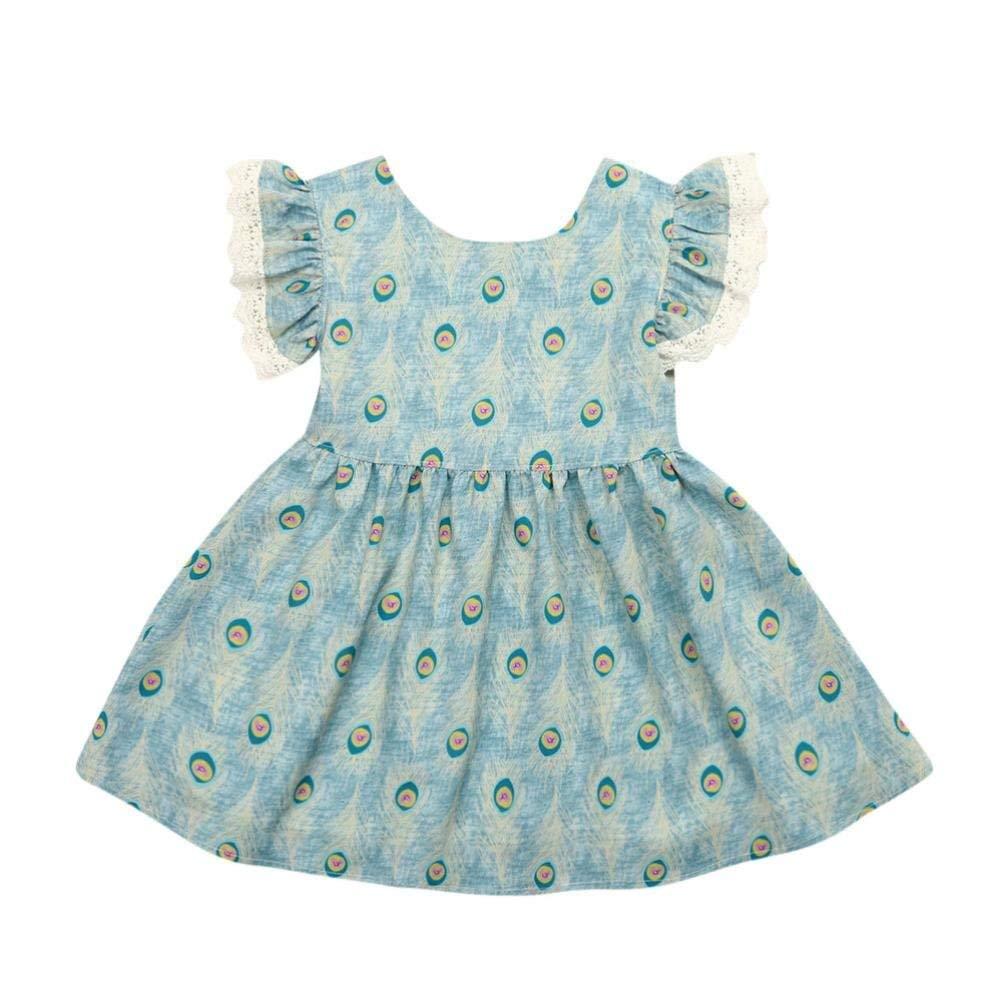 ebe4dac4cc1 Get Quotations · Winsummer Kid Baby Girls Dress Peacock Feathers Lace  Ruffles Sleeveless Sundress Infant Princess Summer Vest Dress