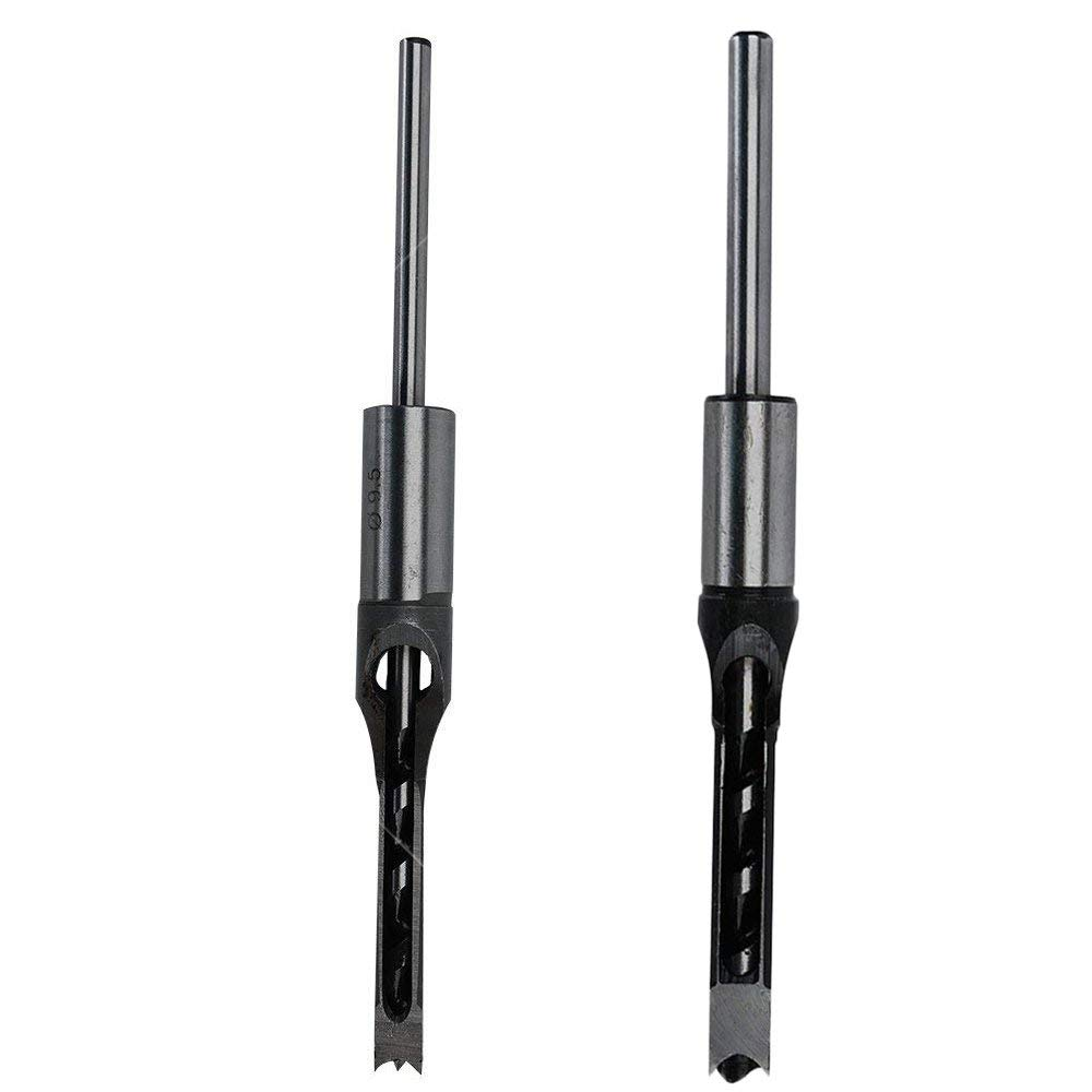 "2pcs Woodworking 3/8"" Inch (12.2mm) 1/2"" Inch (12.7mm) Square Hole Drill Bit Mortising Chisel Set, Mortise Chisel & Bit Set for Mortise and Tenon Machine"