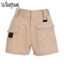 e59f7137a9 Pantalones cortos de cintura alta de bolsillo de color caqui Waatfaak de  moda de verano para