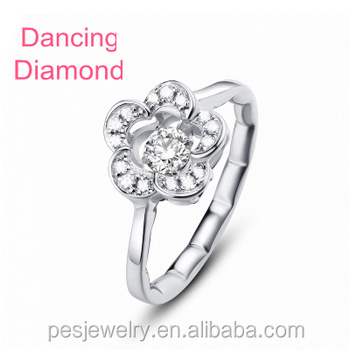 PES Fashion Jewelry! Dancing Diamond Accent Cubic Zircon Wintersweet Flower Rings (PES6-1868)