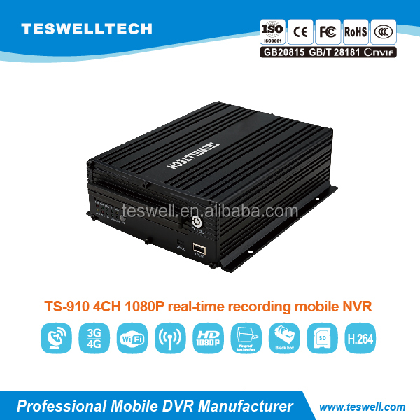 h.264 network 1080P mobile nvr recorder support 4 ip camera 3g wcdma gps with free client software h.264 dvr