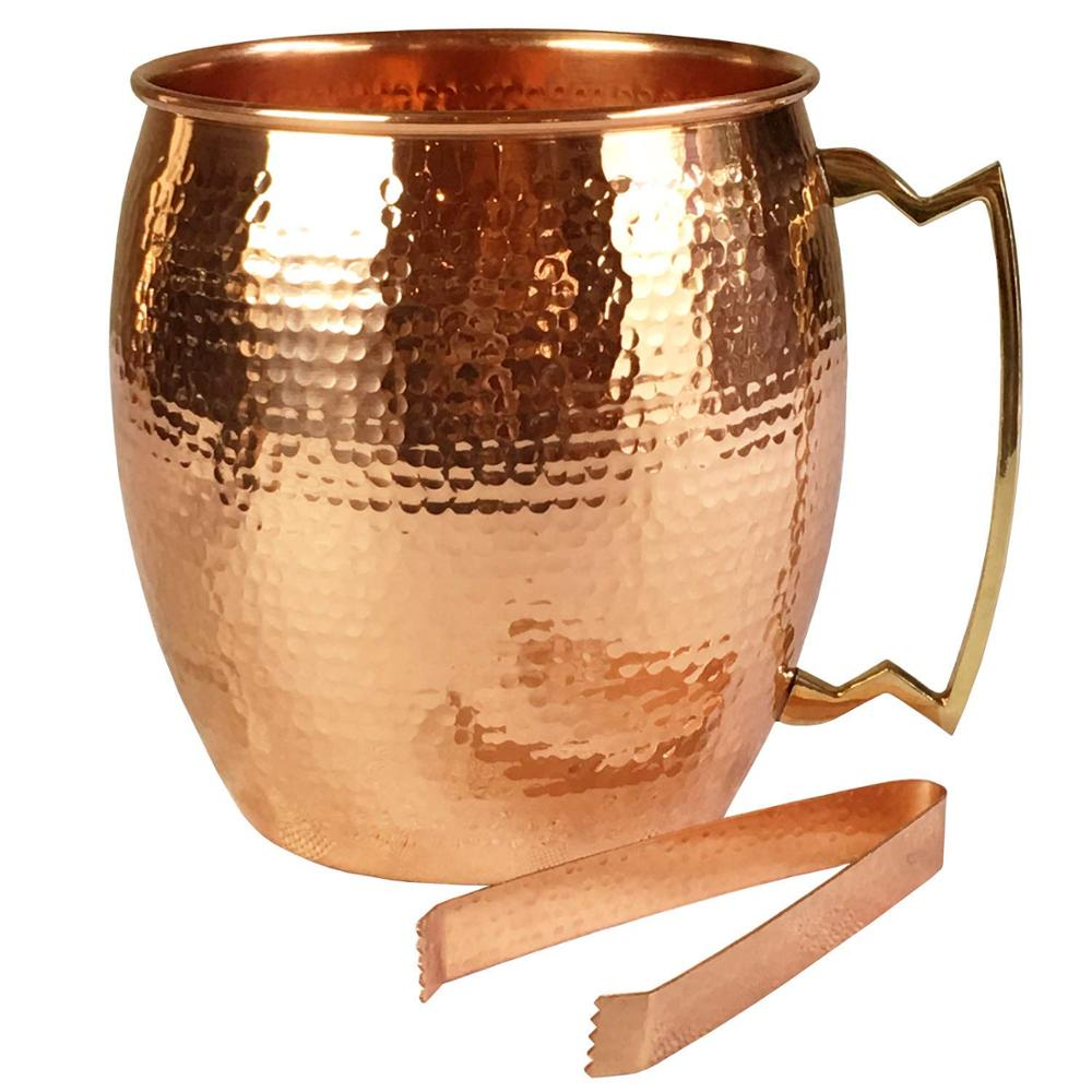 High Quality Custom Copper Plating Stainless Steel Moscow  Ice Bucket With Ice Tong