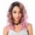 Japanese fiber three tone color 1b pink C side part curly lace front wig