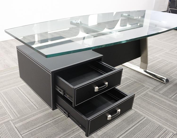 Scrivanie Ufficio In Vetro : Vetro moderno top ufficio vetro scrivania del computer per la