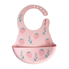 Personalized printed feeding boys silicon baby bib with catcher