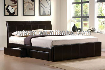 New Modern Design Sample Pu Bed With Drawrs To Storage Space For Bedroom Furniture Buy Modern Fashion Simple Design Leather Bed Pu Bed With Storage