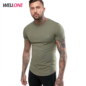 Short sleeve sport 95% cotton 5% spandex round bottom blank custom silk screen printing logo khaki fitness gym tshirt men
