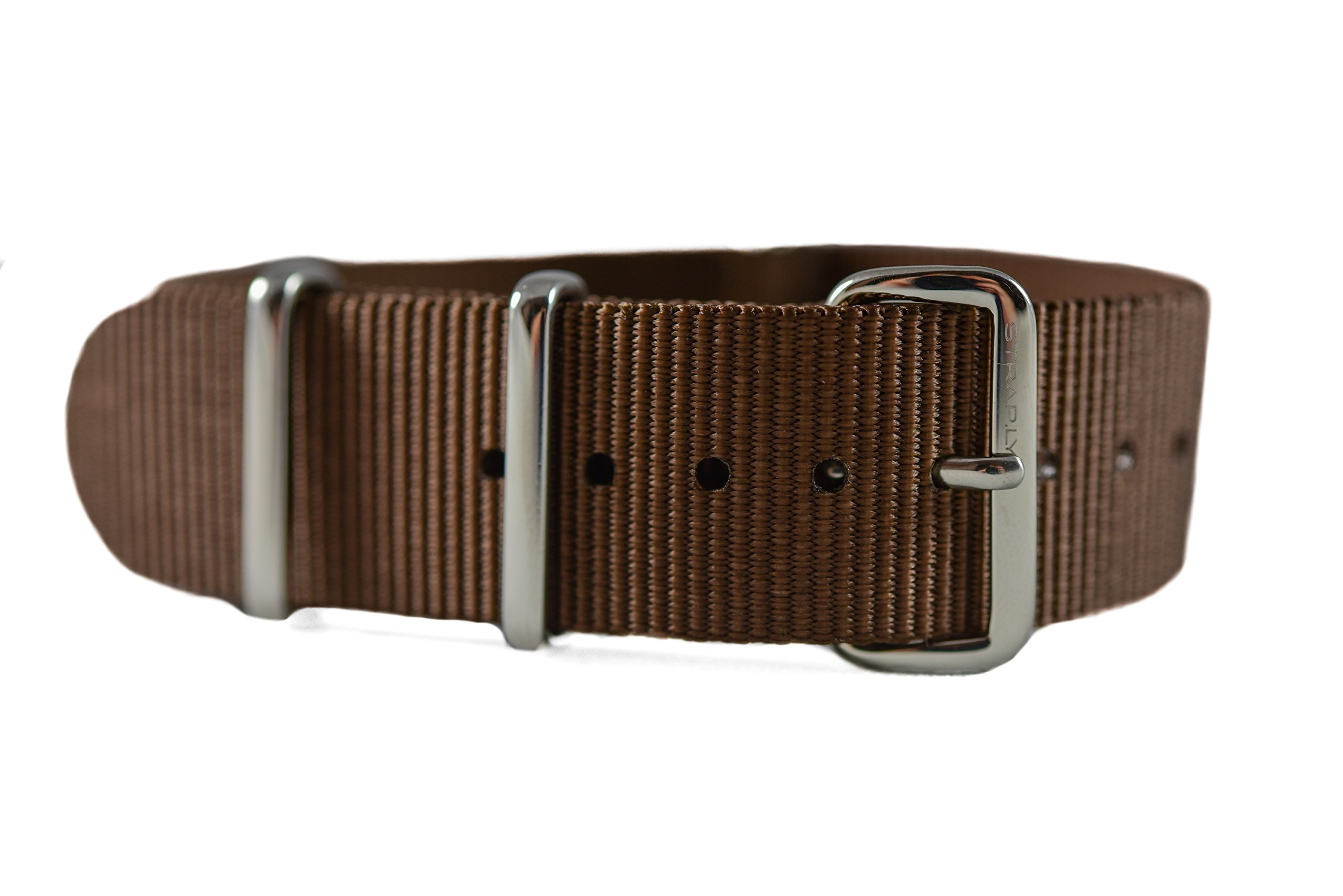 NATO G10 Nylon Premium Quality Replacement Watch Band Strap - 20mm / Brown - FITS ALL BRAND WATCHES