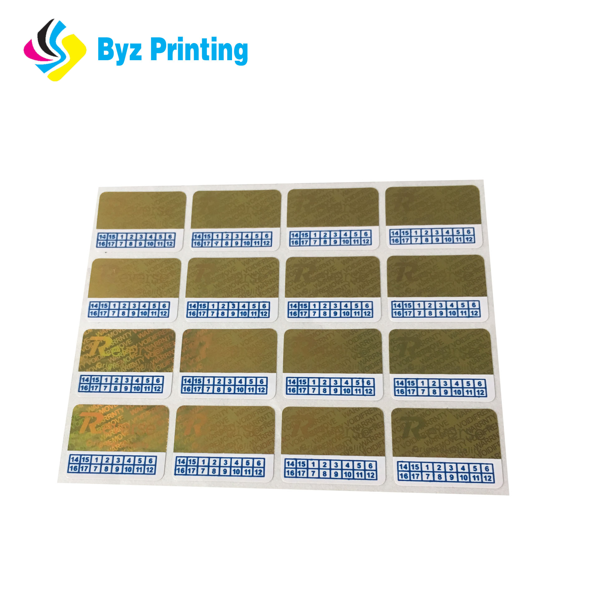 Custom gold ink printed transparent warranty void stickers gold ink company logo printed round clear security void vinyl labels