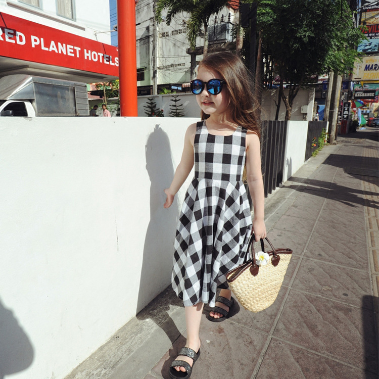 Summer style sleeveless font b dress b font for girls black white plaid veat font b