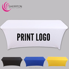 wholesale cheap advertise many colours spandex table cover with printing logo / lycra stretch fitted rectangular tablecloth