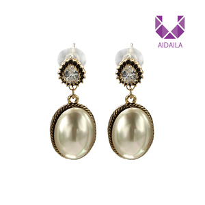 AIDAILA Charming Fancy Design Hanging Vintage Pearl Earrings 18k Gold Pearl Earrings