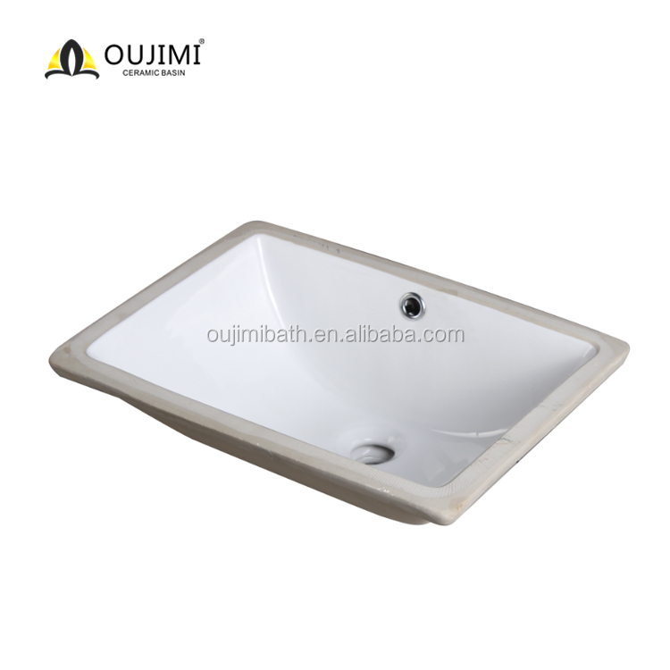 Sanitary one piece wall hung ceramic under counter rectangular decorative basin / wash bowl / undermount sink