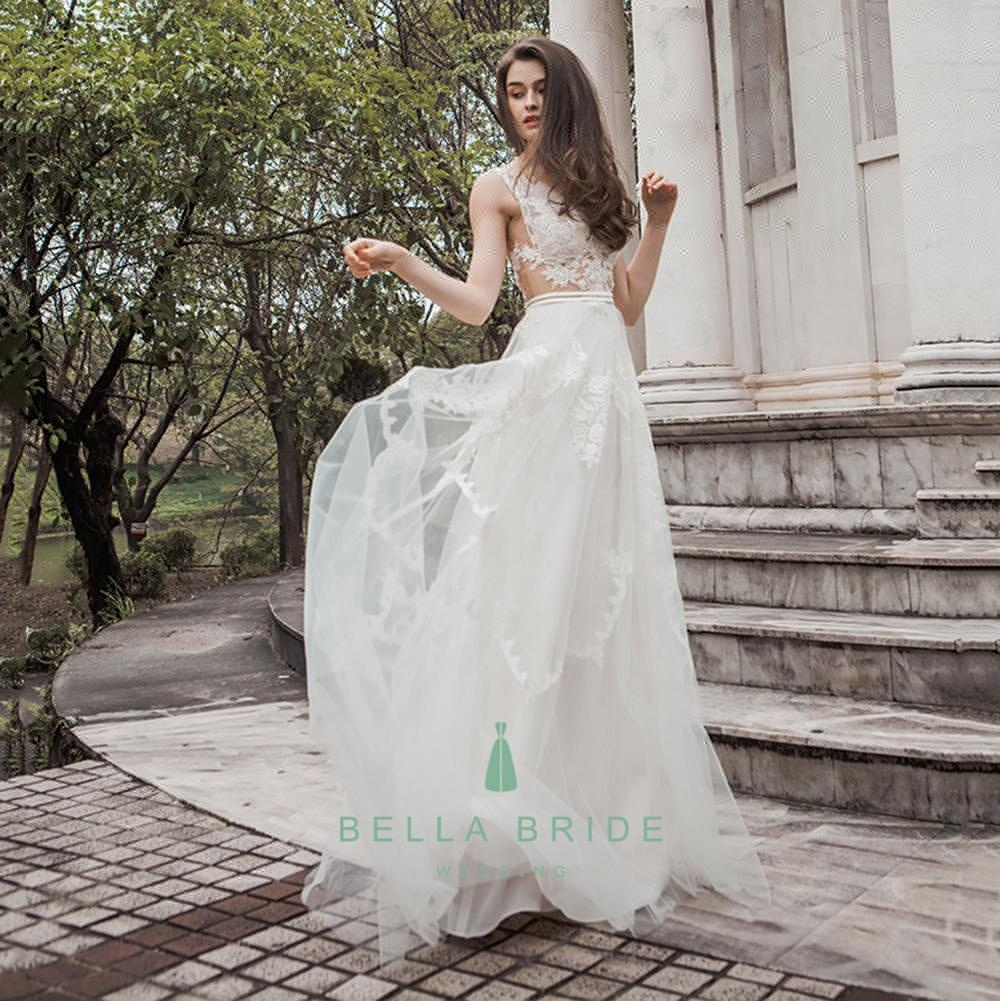 Latest Decent Beach Wedding Dresses Bridal Party Gown Ivory Lace