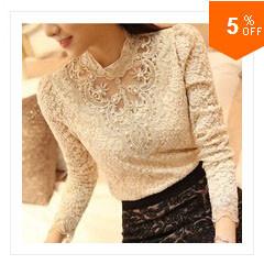 2014 אופנה חדשה לנשים, חולצה סקסית חולצות שיפון פאף שרוול ארוך חולצות תחרה חופשי O-צוואר מזדמנים צמרות בתוספת גודל משלוח חינם