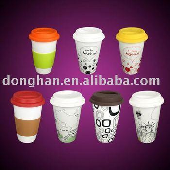 Double Wall Ceramic Travel Mug Takeaway Coffee