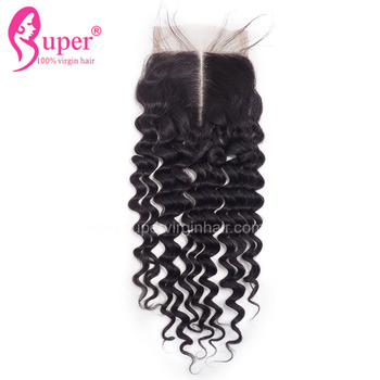 Affordable Wholesale Remy Cuticle Aligned Deep Wave Hair Weave Lace Closure With Bangs