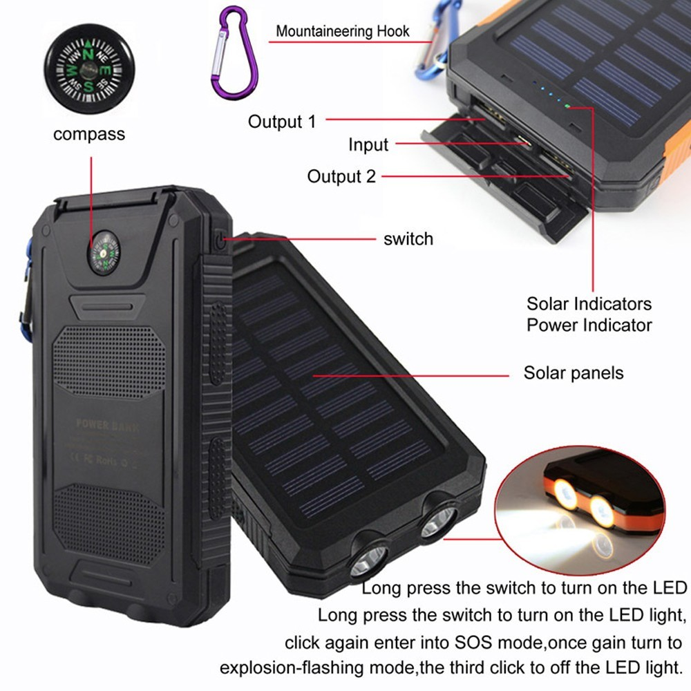 Double usb ports 1A 2A 5 volt fast charging solar power bank with led light