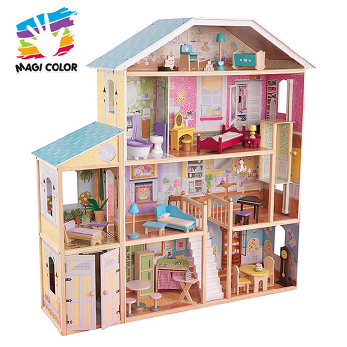 2019 Best design kids wooden doll house kits with light W06A163D