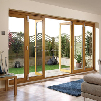 Oak Glass Folding Door Balcony Wooden Door For Villa - Buy Balcony ...