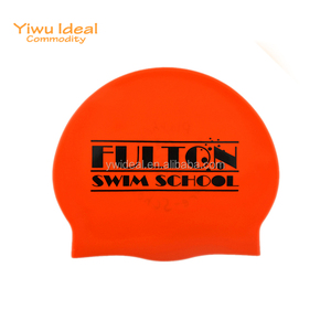 Advertising Logo Cool Silicone Orange Swim Cap