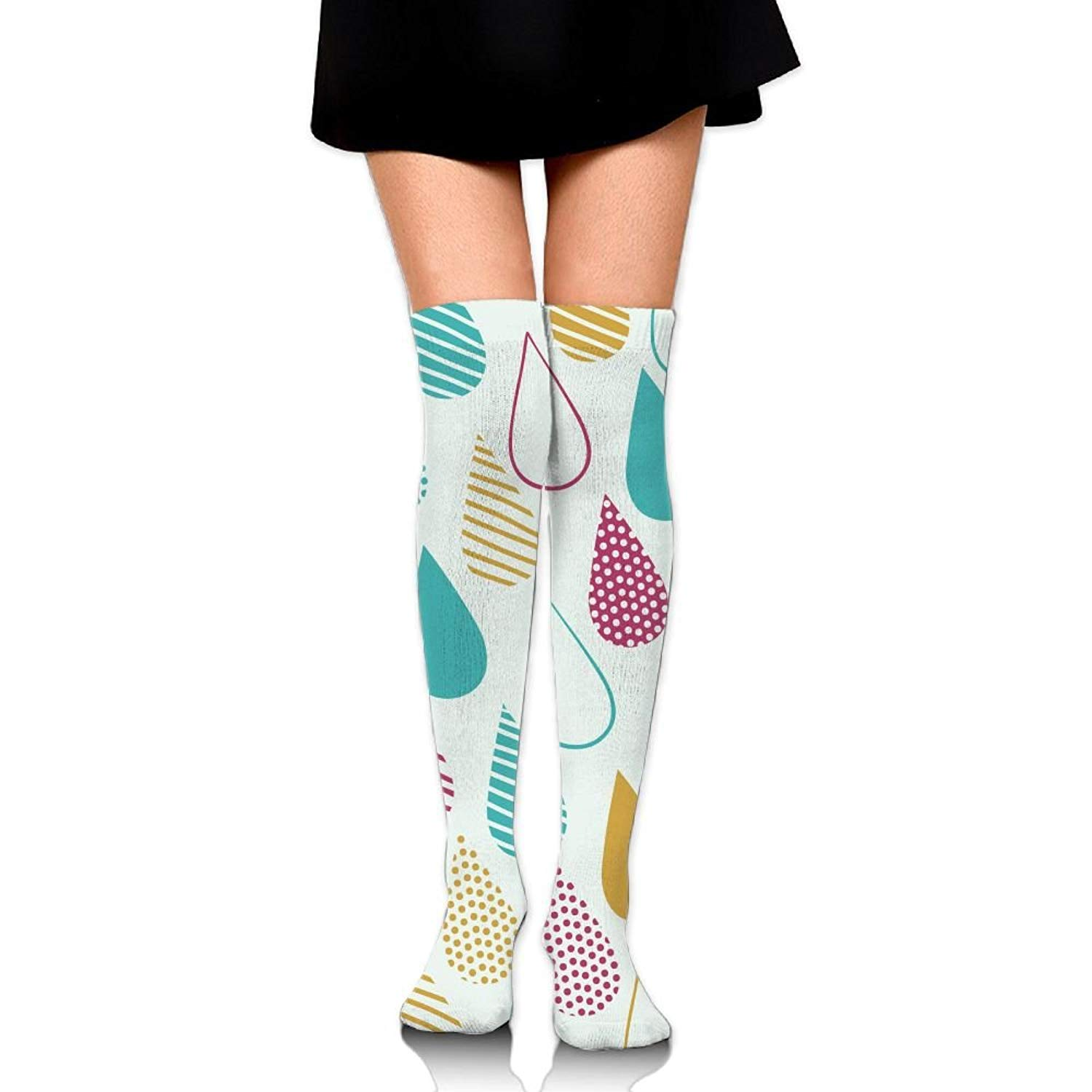 Zaqxsw Raindrop Women Retro Thigh High Socks Girls Socks For Womens