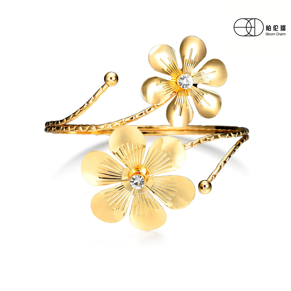 Golden Flower Cheery Vine Armband Cuff Bangle Jewelry