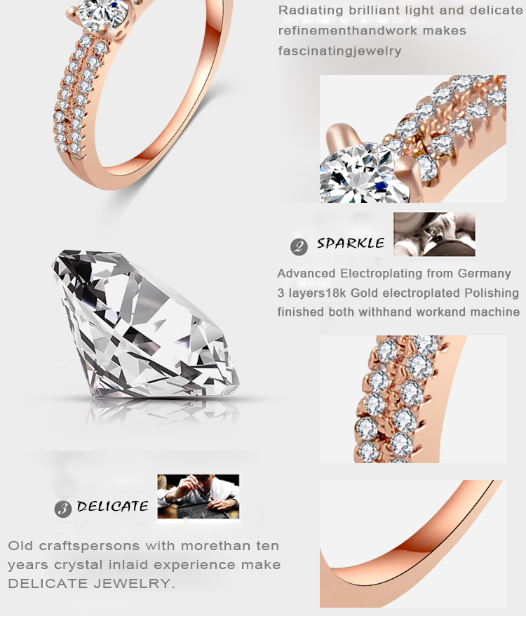 Real 18k Rose Gold Plated Mens Fake Diamond Wedding Ring New Arrival