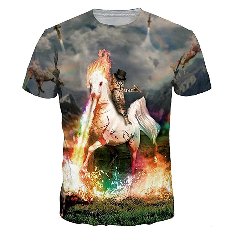 FEOYA Unisex Galaxy Graphic Tees Novelty Printed Thin Cool Summer Casual T Shirts