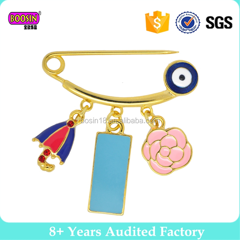 evil eyys gold filled alloy factory enamel flower pin for clothes